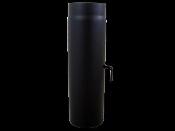 Kachelpijp 500mm Dikwandig staal 2 mm (130mm) Zwart met Smoorklep