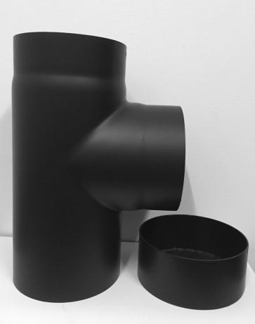 T-stuk met deksel 2 mm staal zwart 150mm