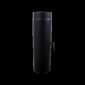 Kachelpijp 1000mm Dikwandig staal 2 mm (130mm) Zwart met Smoorklep