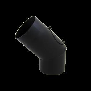 Bocht 45° Dikwandig staal 2 mm (130mm) met inspectieluik Zwart