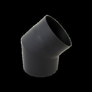 Bocht 45° Dikwandig staal 2 mm (150mm) Zwart