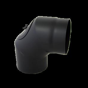 Bocht 90° Dikwandig staal 2 mm (150mm) met inspectieluik Zwart
