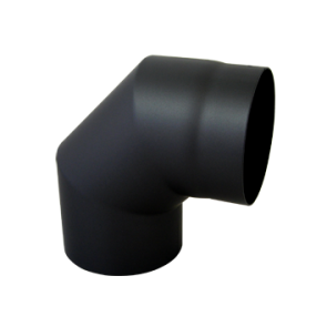 Bocht 90° Dikwandig staal 2 mm (130mm) Zwart