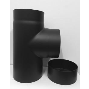 T-stuk met deksel 2 mm staal zwart 130mm