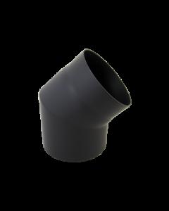 Bocht 45° Dikwandig staal 2 mm (130mm) Zwart