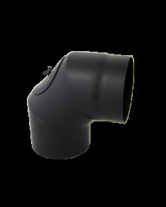 Bocht 90° Dikwandig staal 2 mm (130mm) met inspectieluik Zwart