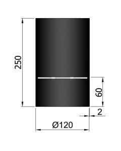 Dikwandig zwart kachelpijp diameter 120 met condensring