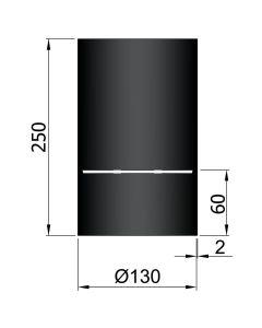 Dikwandig zwart kachelpijp diameter 130 met condensring