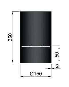 Dikwandig zwart kachelpijp diameter 150 met condensring