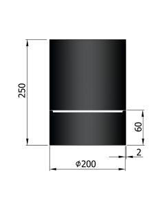 Dikwandig zwart kachelpijp diameter 200 met condensring
