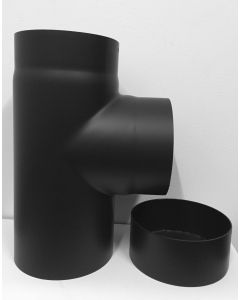 T-stuk met deksel 2 mm staal zwart 200mm