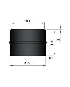 Dikwandige nisbus 150 mm zwart