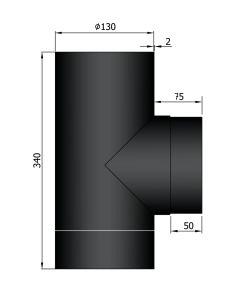 T-stuk dikwandig 130mm zwart staal