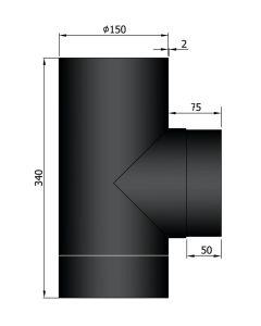 T-stuk 150mm dikwandig staal zwart